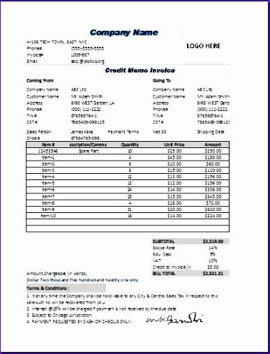 sample memo invoice template 387507