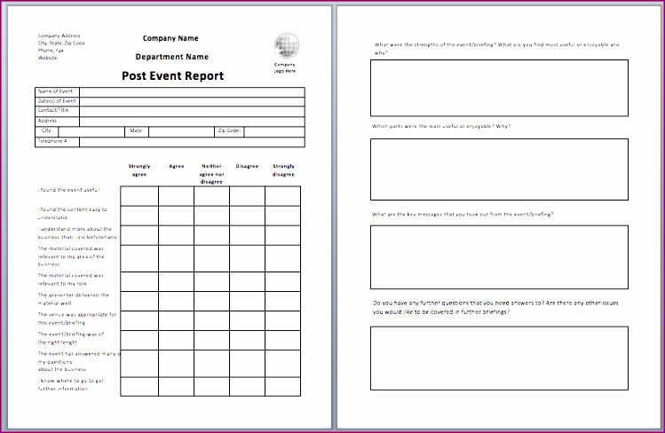 5 Event Template  Daily Status Report Template