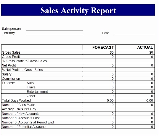sales revenue report template 606520