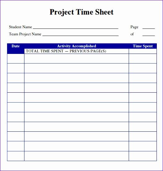 sample project timesheet