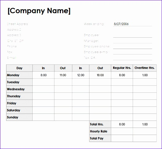 sample weekly timesheet 527487