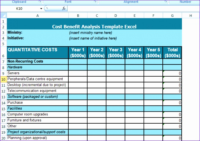 cost benefit analysis template excel 655462