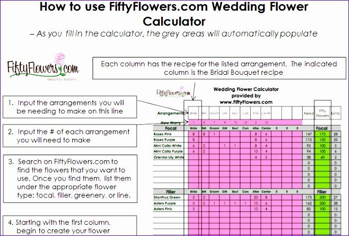 WeddingFlowerRecipeWorksheet