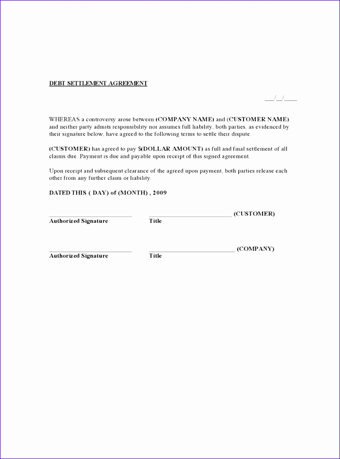 debt settlement agreement form 698942