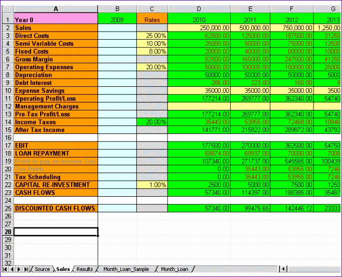 NPV IRR ROIC Excel Templates for 3 up to 100 year business plan