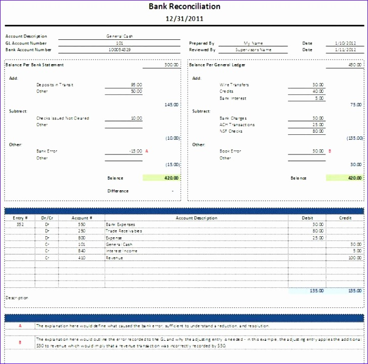 Awesome Excel Bank Reconciliation Template Ideas - Resume Ideas