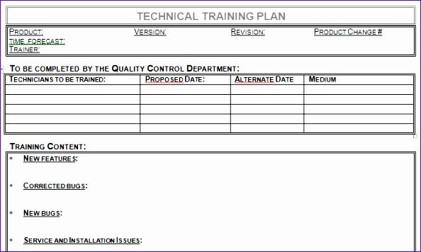 technical training plan template for microsoft word 594356