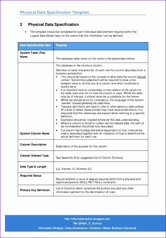 05 physical data specification template