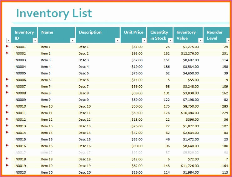 7 inventory template excel 742566