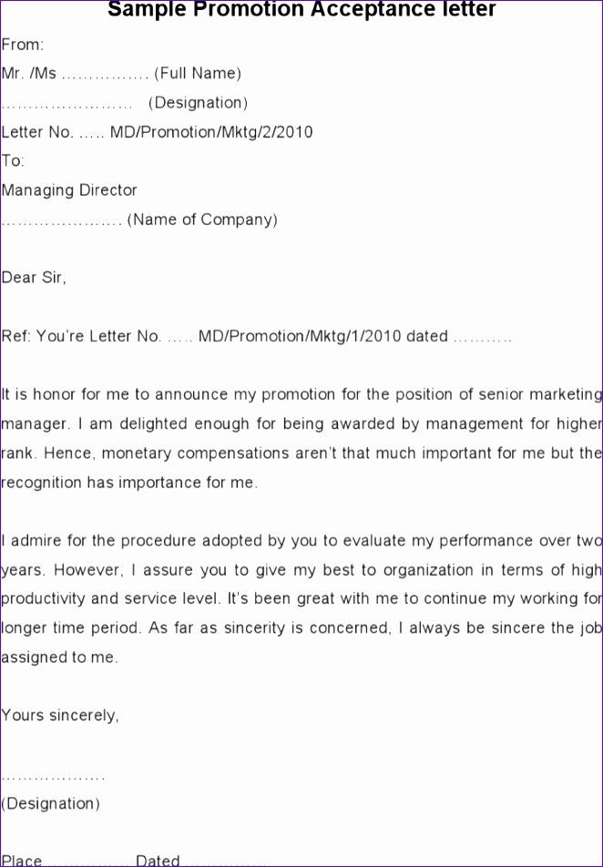 sample promotion acceptance letter 662952