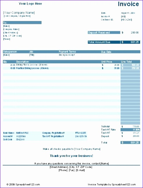 Download Excel Invoice Template  Exceltemplates  Exceltemplates