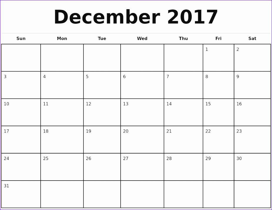 2017 monthly calendar template 2 988 925714
