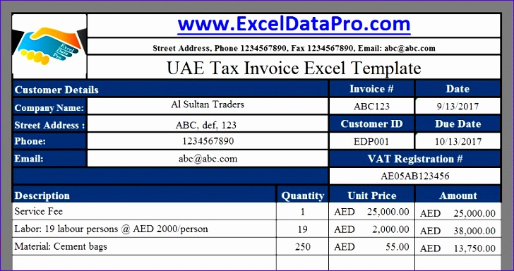 uae vat tax invoice 728384