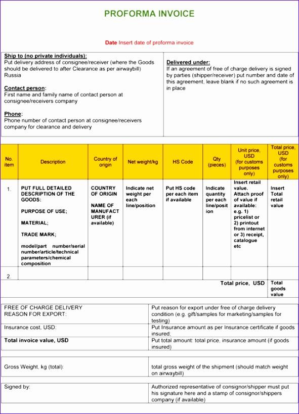 proforma invoice template doc 2258 591819