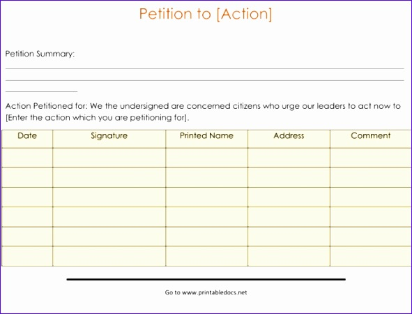 blank petition form template 591450