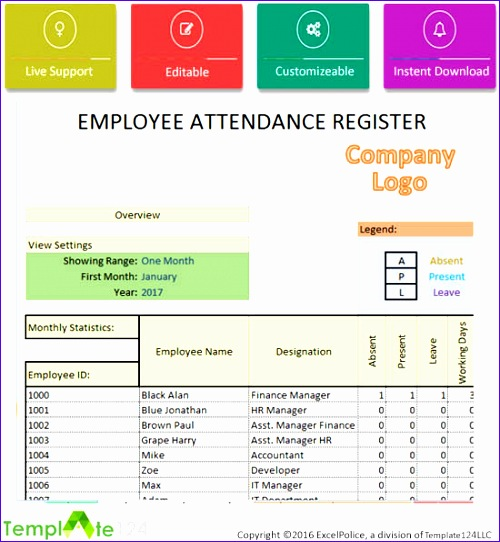daily employee attendance sheet in excel 2017 500542