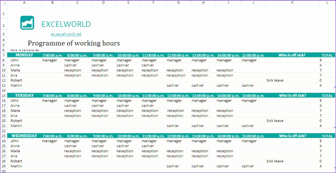 employee schedule template 1101567