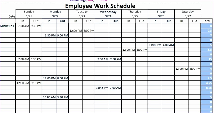 employee work schedule 864459