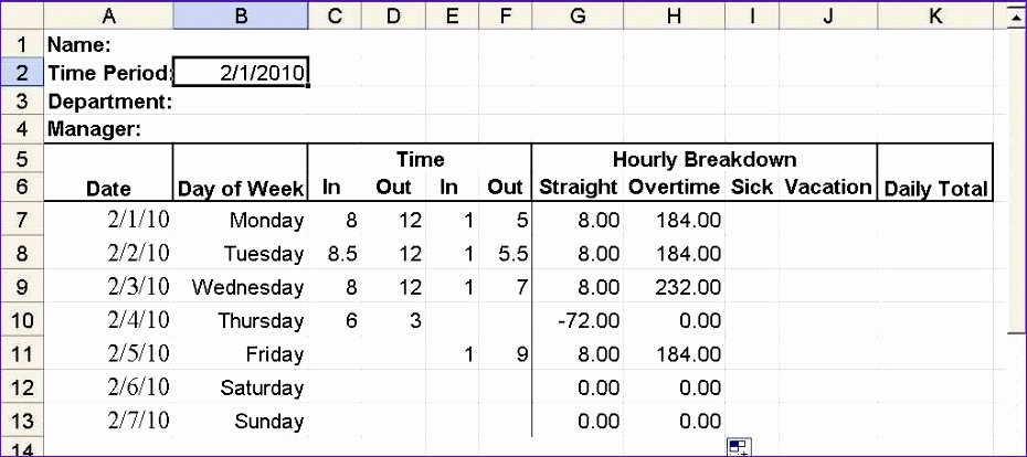 build a simple timesheet in excel 930414