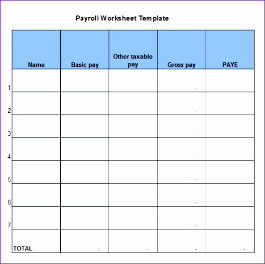 payroll worksheet 532529