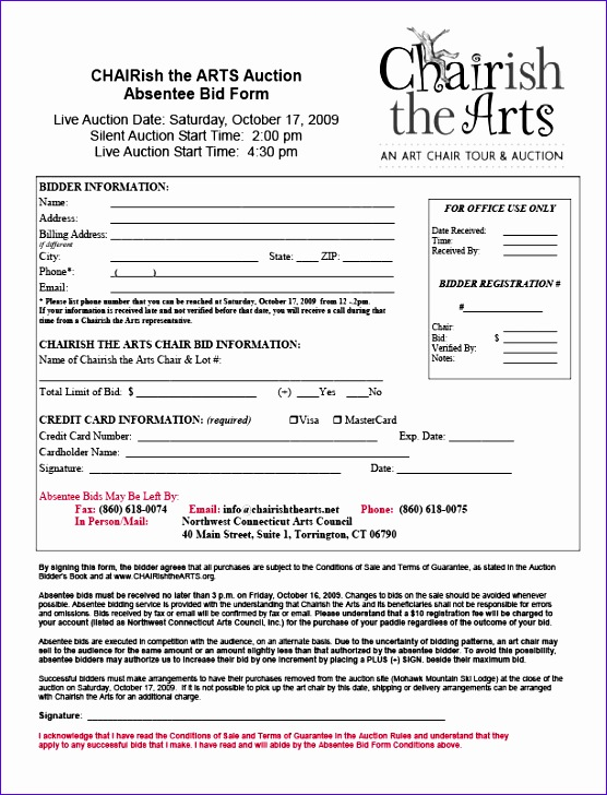Estimate Template Excel Fdghk Best Of Charish the Arts the Auction Absentee Bid form 612792