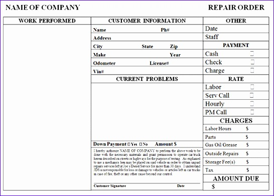 auto repair invoice template 2341 546391