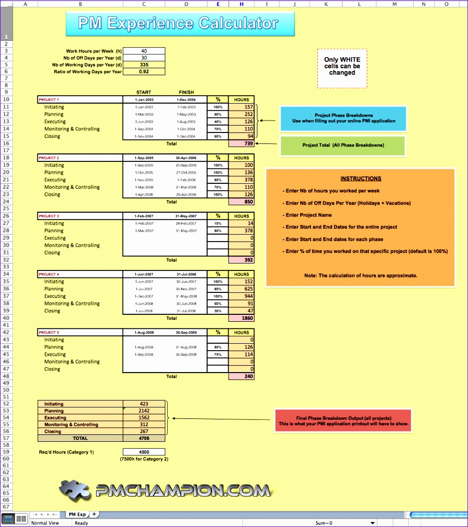 Estimate Template Excel Oqaaa Awesome Pm Work Experience Calculator 10331150
