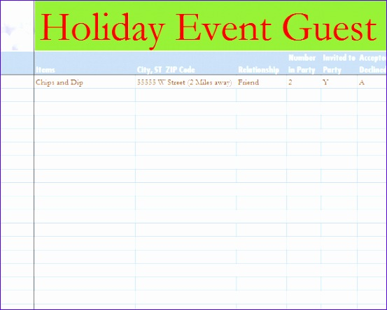 Holiday Event Guest List 553444  Event Guest List Template