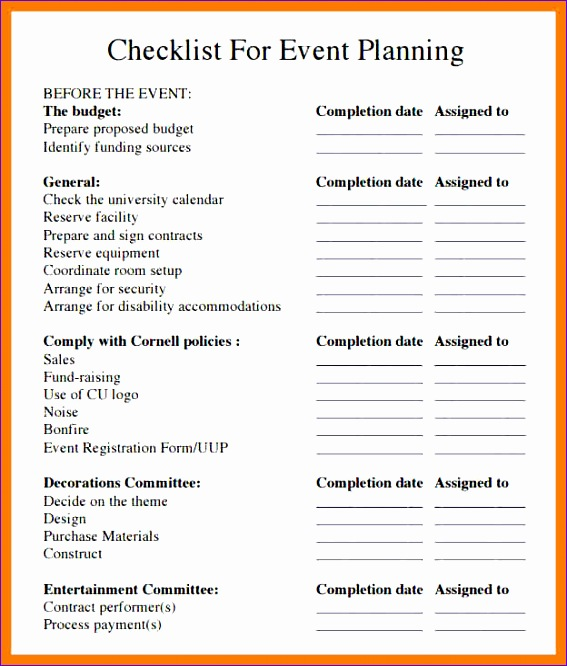 9 free event planning checklist template excel 567666