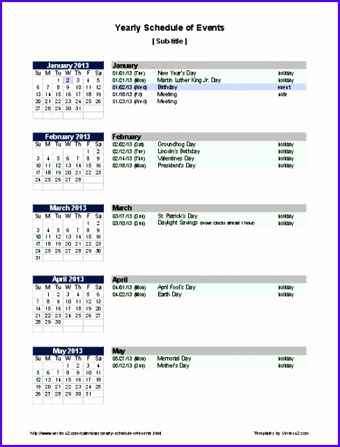 Yearly Schedule of Events 488641