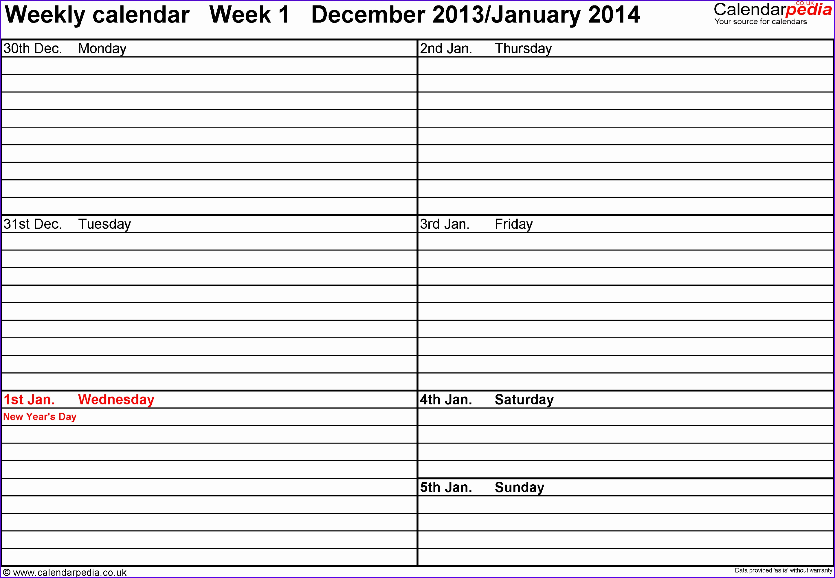 Word template 3 Weekly calendar 2014 landscape orientation 53 pages 1 calendar 28851999