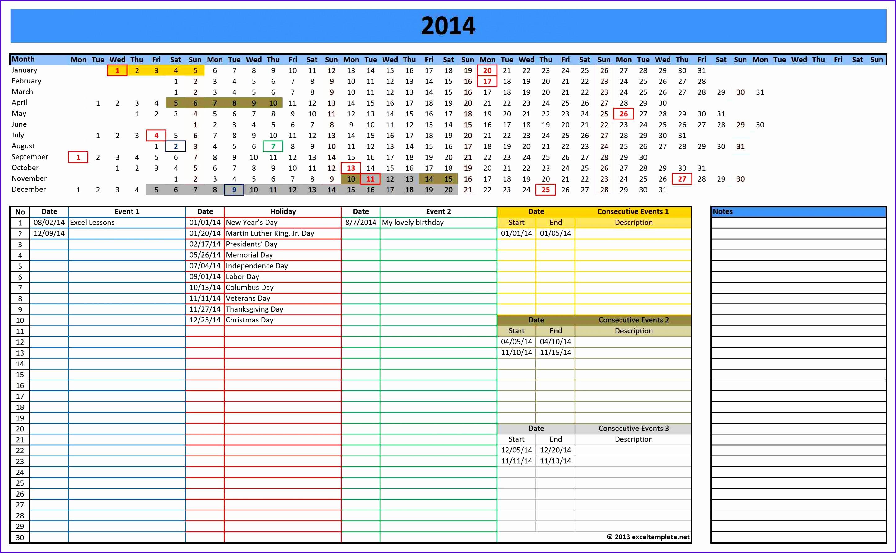 11 2014 calendar templates excel exceltemplates