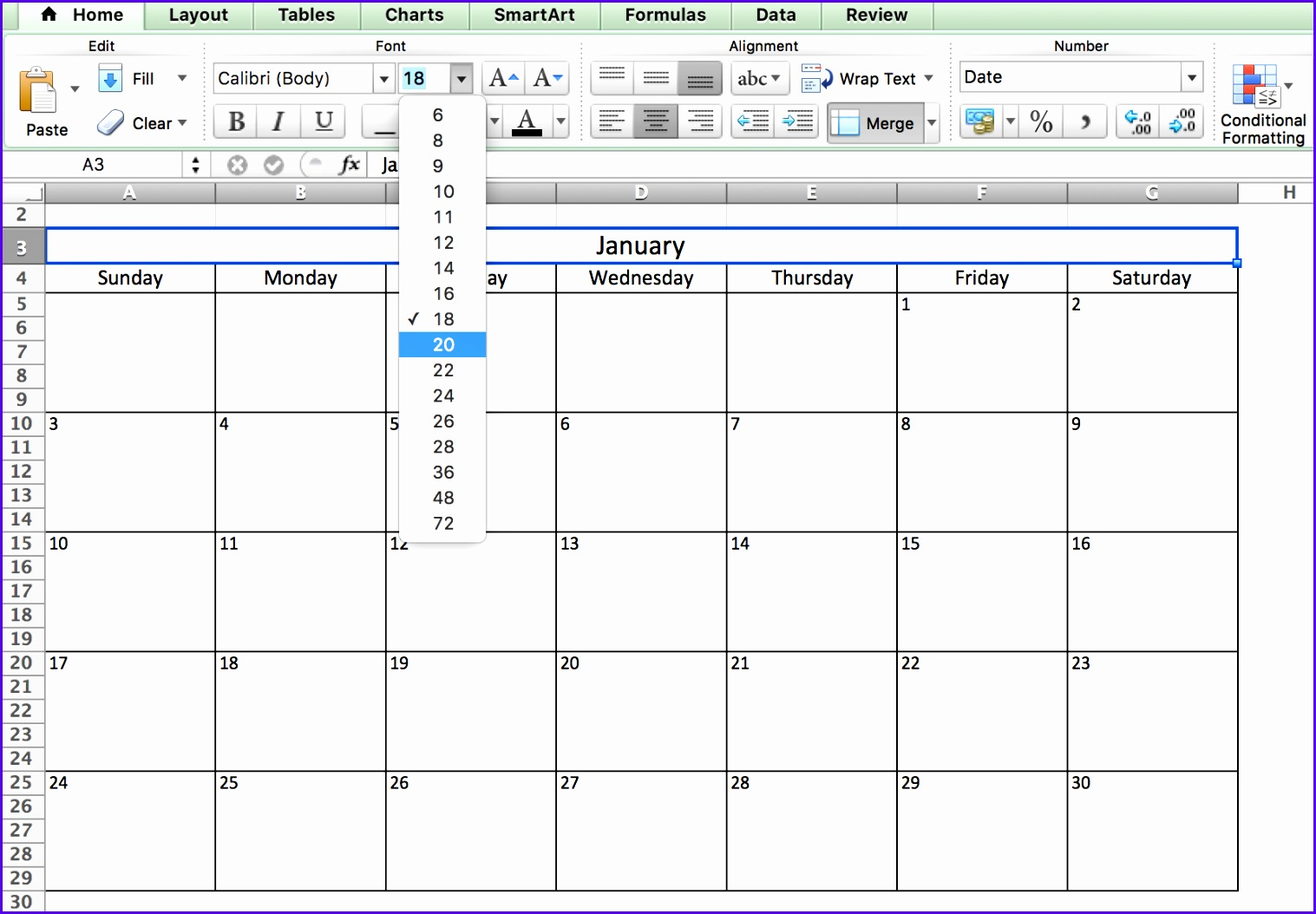 Choosing Fonts Calendar in Excel 15171054