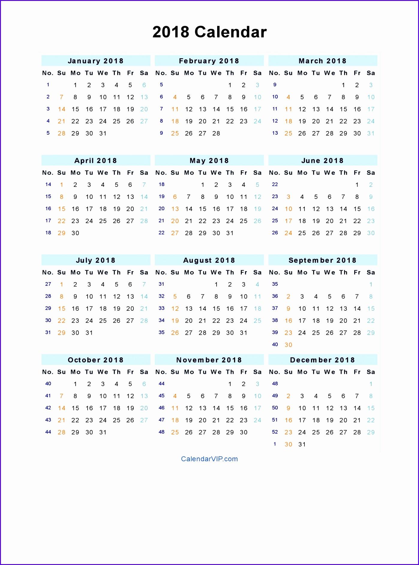 2018 Calendar Blank Printable Calendar Template in PDF Word Excel 13971884
