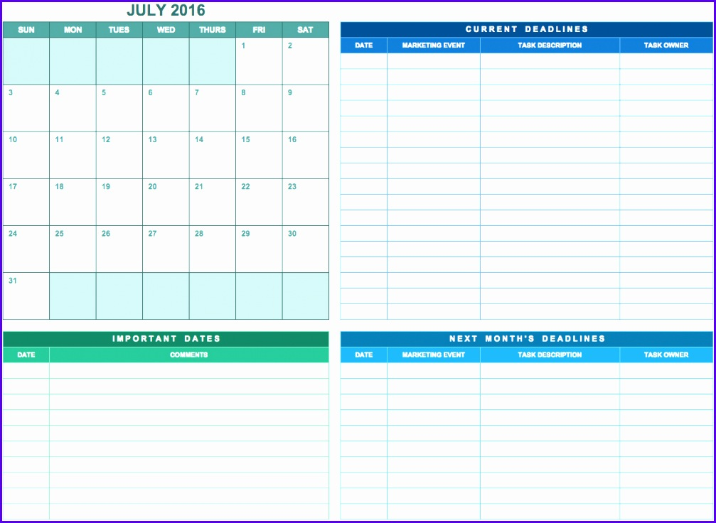 6 Annual Calendar Template Excel Exceltemplates Exceltemplates