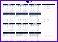 2018 Excel Yearly Calendar 200144