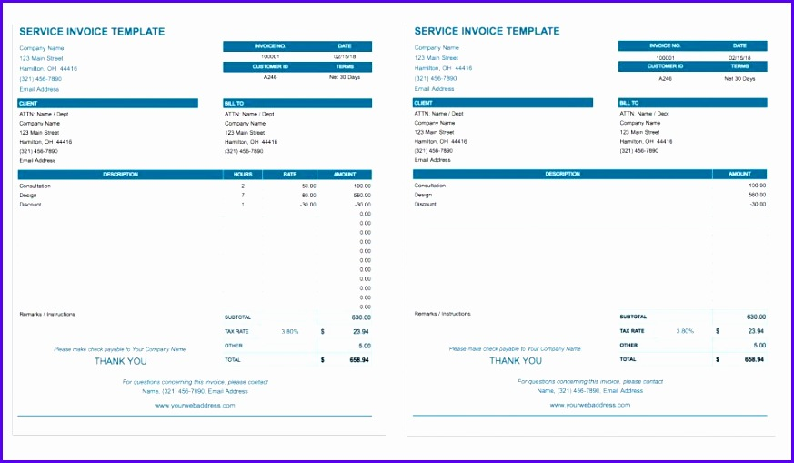 This invoice template is for business services and displays the number of hours worked hourly rates and total amounts due A service invoice is useful for 873509