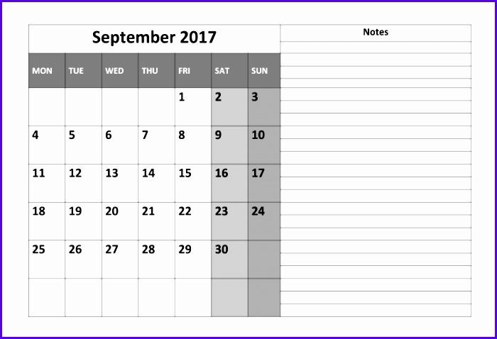 September Calendar 2017 Template 700478