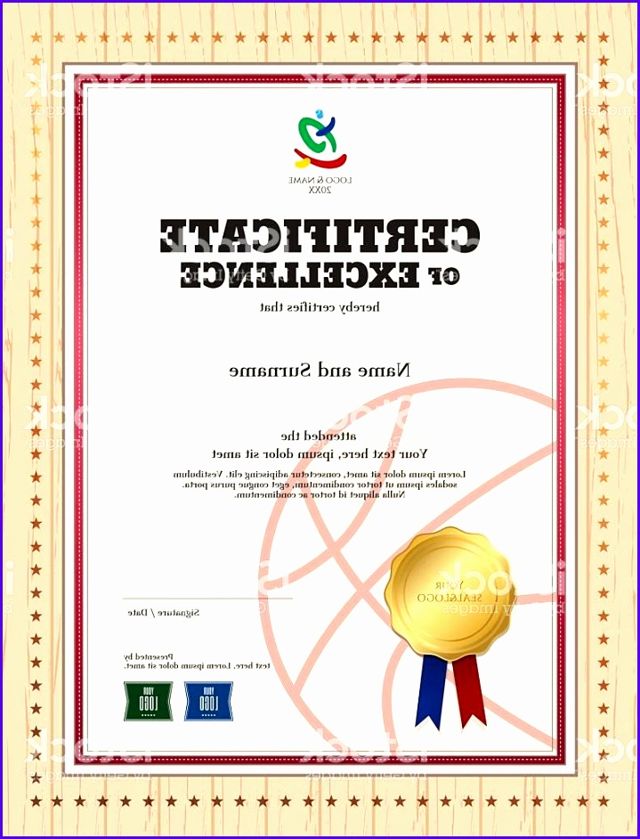 Best Free Certificate Excellence Template In Sport Theme For Basketball  Vector  Certificate Of Excellence Template