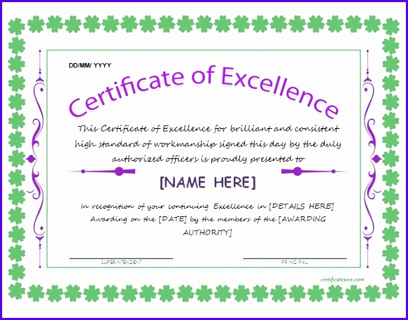 Certificate of Excellence for Word 583457