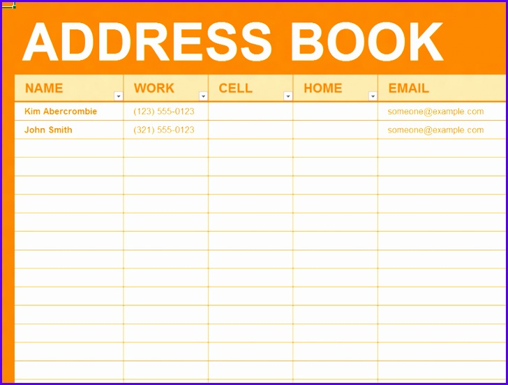 Free Excel Template Personal address book