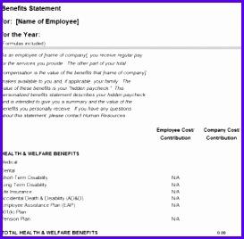 Employee Benefits Statement Template 273268