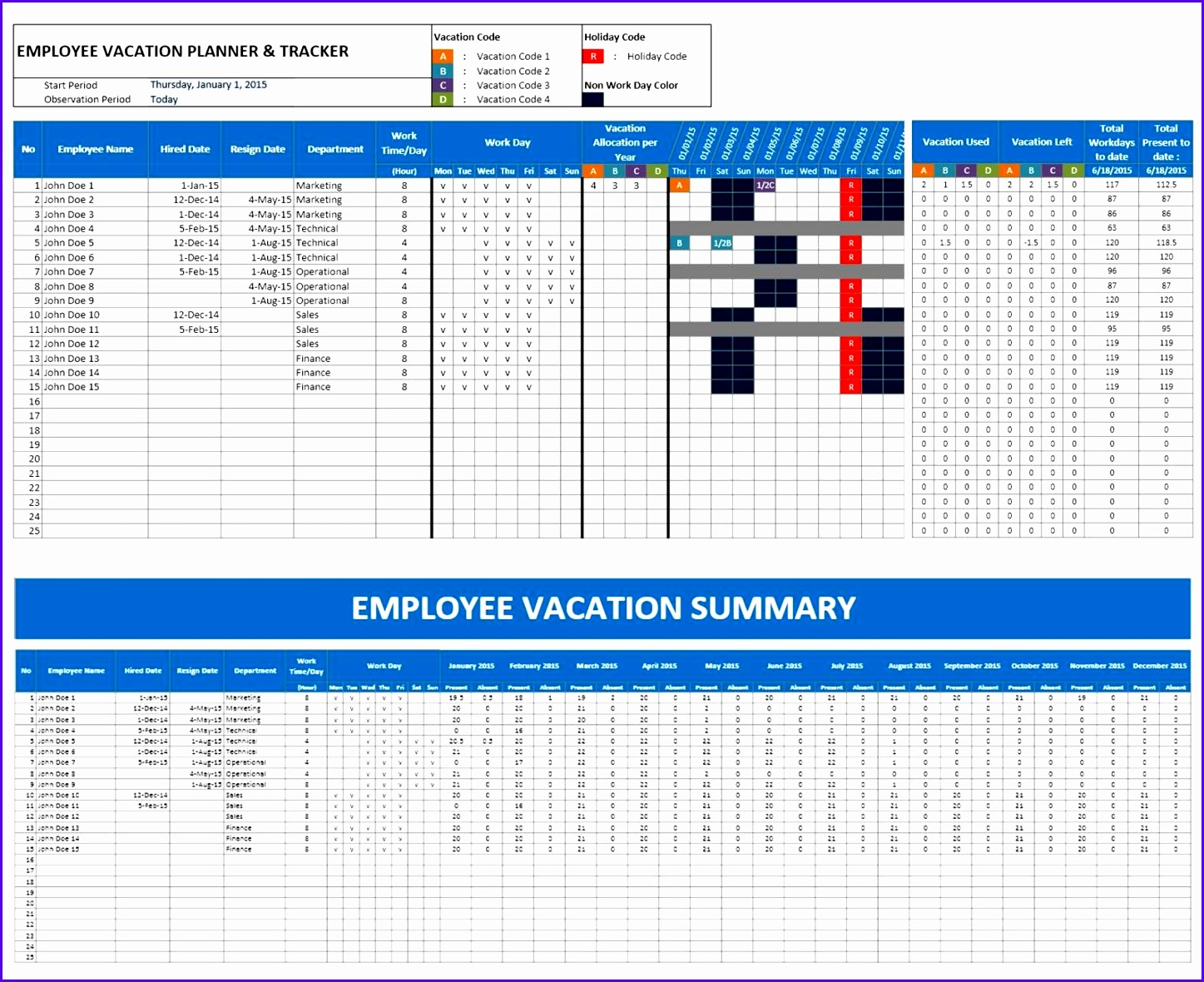 Employee Vacation Planner for Excel 14471180