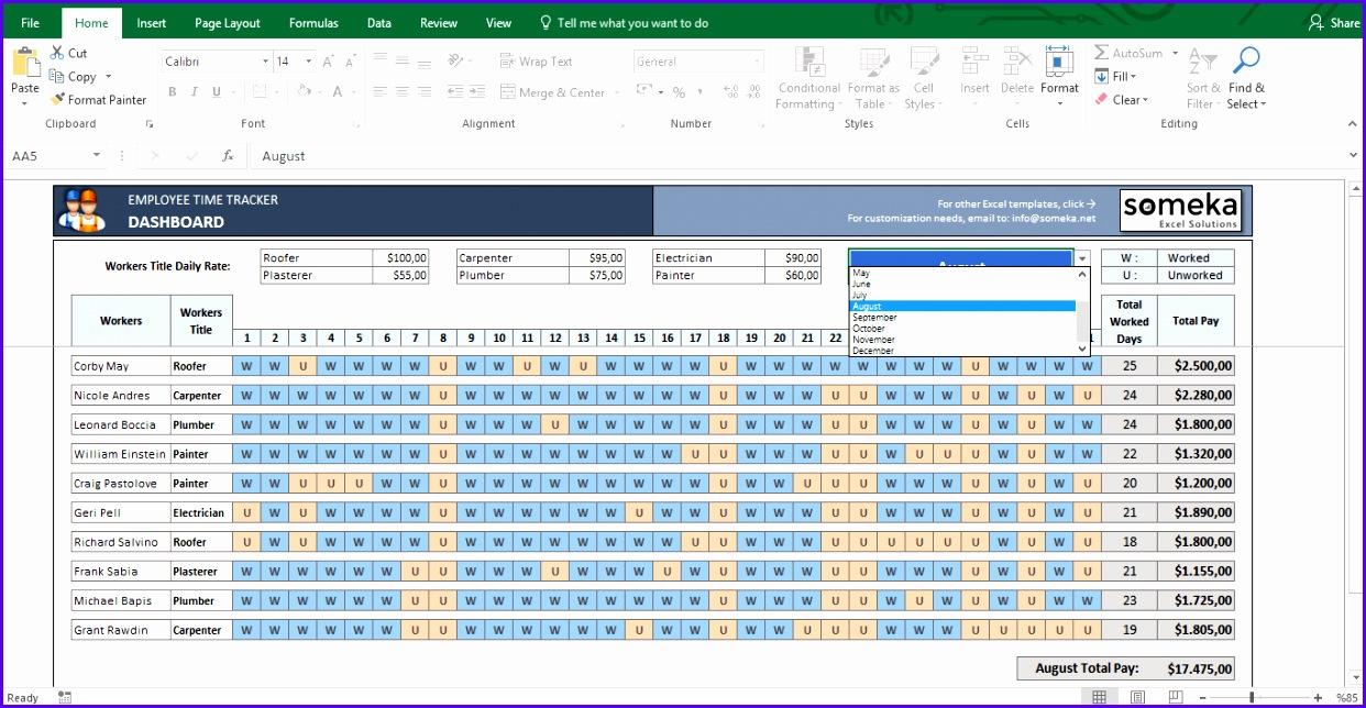 Payroll Template Excel Timesheet Template Screenshot Image 3 Someka 1242644