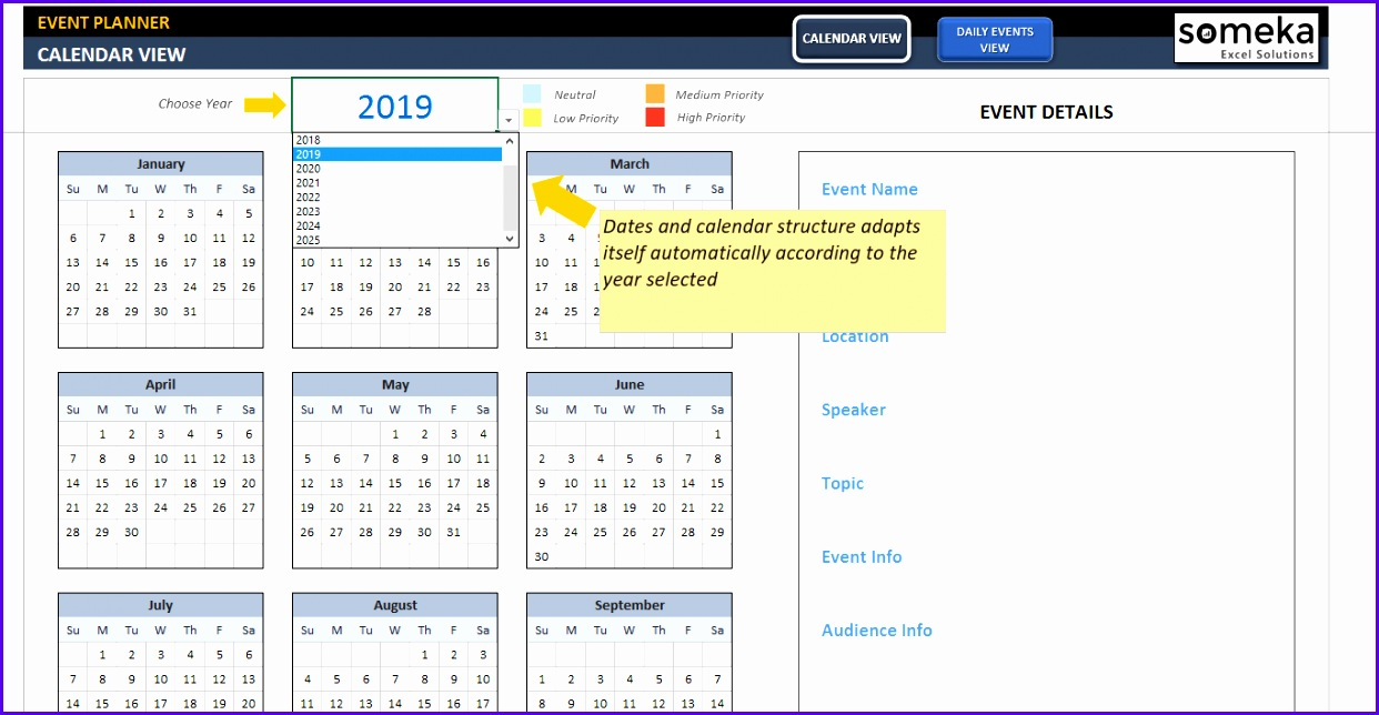 Dynamic Event Calendar SS4 Someka Excel Templates 1242644