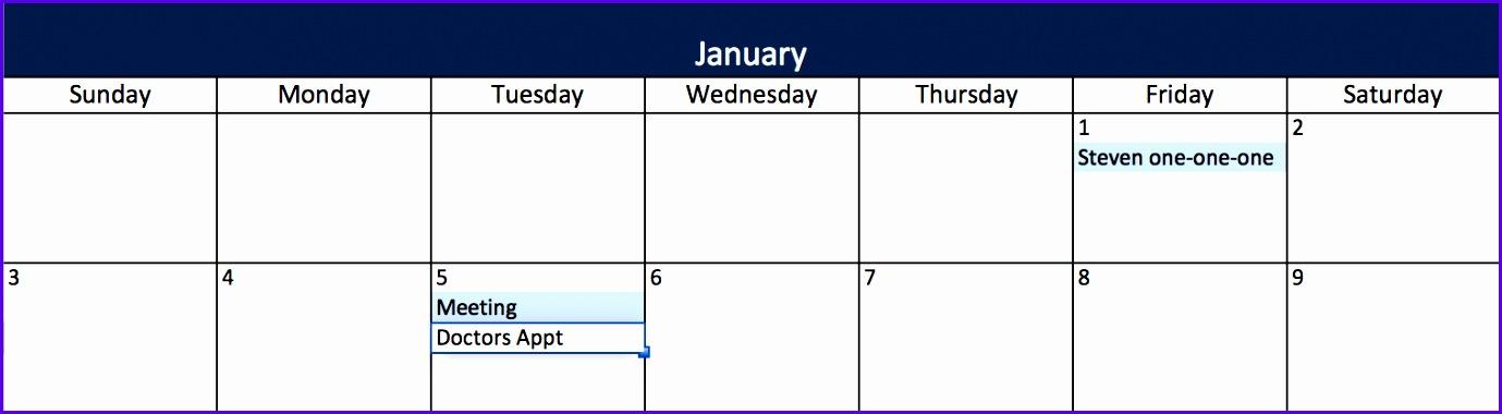 Add an Event Calendar in Excel 1379380