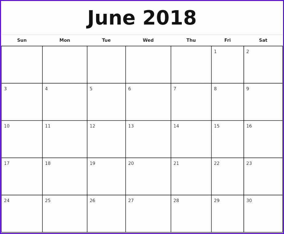 June 2018 Monthly Calendar Template 925762
