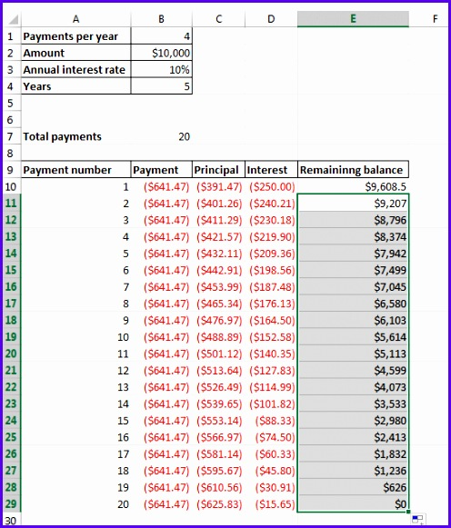 ready amortization schedule template 496581