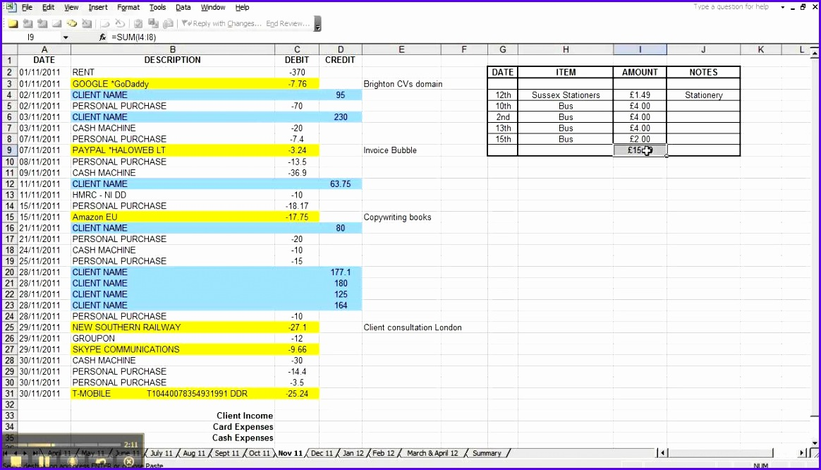 Simple Spreadsheet For In e And Expenses Monthly Business Expense Template Daily In e And Expense Excel Sheet