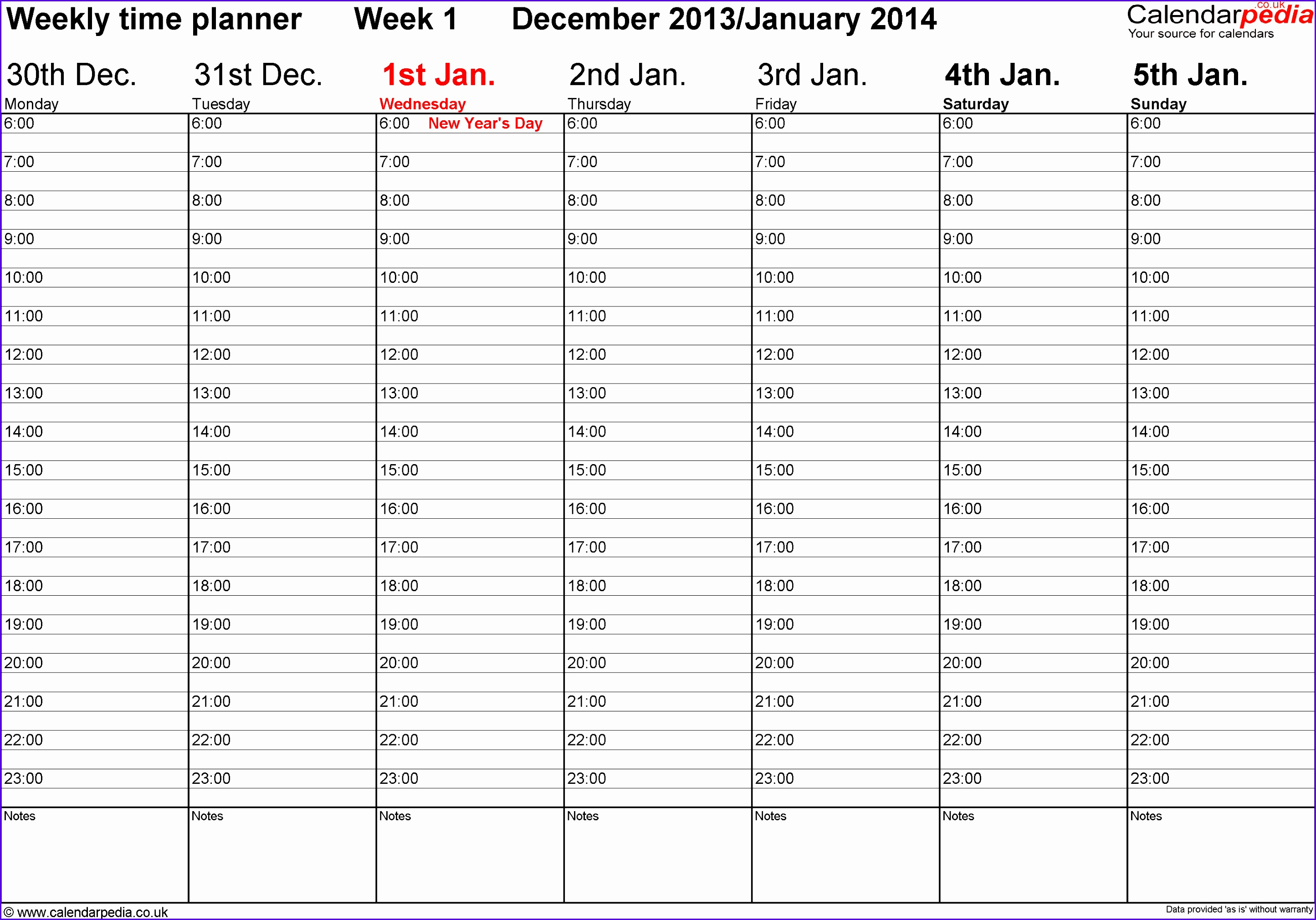 Excel template 1 Weekly calendar 2014 landscape orientation 53 pages 1 calendar 28892020